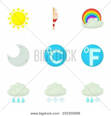 Weather interface icons set. Cartoon set of 9 weather interface vector icons for web isolated on white background
