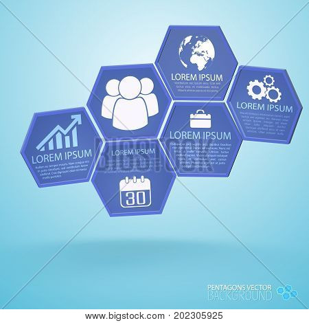 Business infographics with composition from lilac hexagons with icons and text o blue background vector illustration