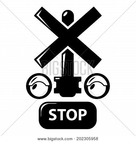 Traffic light stop railway icon . Simple illustration of traffic light stop railway vector icon for web design isolated on white background