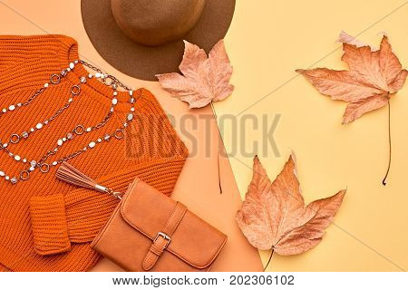 Autumn Arrives. Fashion Lady Clothes Set. Trendy Cozy Knit Jumper. Fashion Stylish Handbag Clutch, Vintage Hat. Fall Leaves.Vanilla Pastel colors.