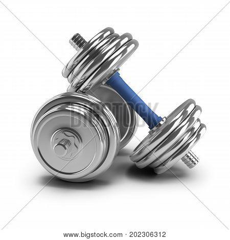 Two steel dumbbells. 3d image. White background.
