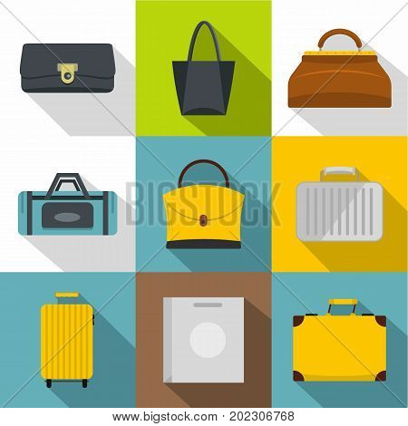 Bags and suitcases icon set. Flat style set of 9 bags and suitcases vector icons for web design