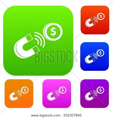 Magnet with coin set icon in different colors isolated vector illustration. Premium collection