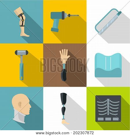 Orthopedic surgery icon set. Flat style set of 9 orthopedic surgery vector icons for web design