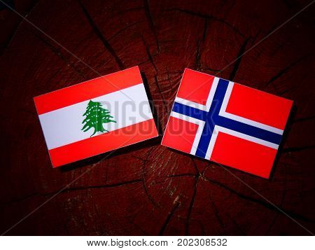 Lebanese Flag With Norwegian Flag On A Tree Stump Isolated