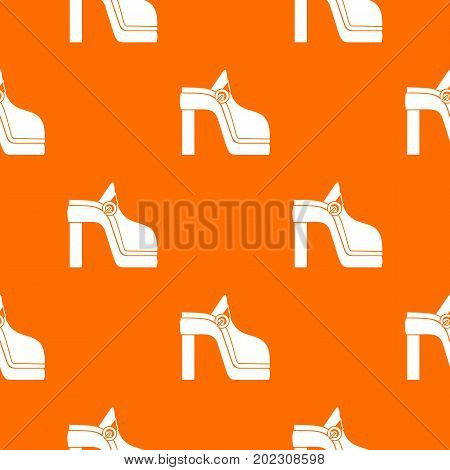 Women shoe pattern repeat seamless in orange color for any design. Vector geometric illustration