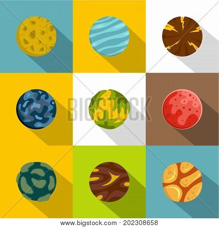 Mystery planet icon set. Flat style set of 9 mystery planet vector icons for web design