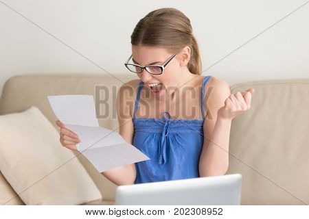 Female job applicant happy after receiving work invitation letter. Student yelling with joy because of enrollment confirmation notice. Successful woman celebrating great achievement, success concept