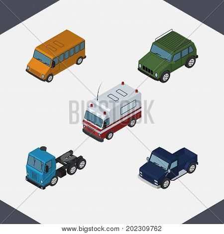 Isometric Transport Set Of First-Aid, Suv, Autobus And Other Vector Objects