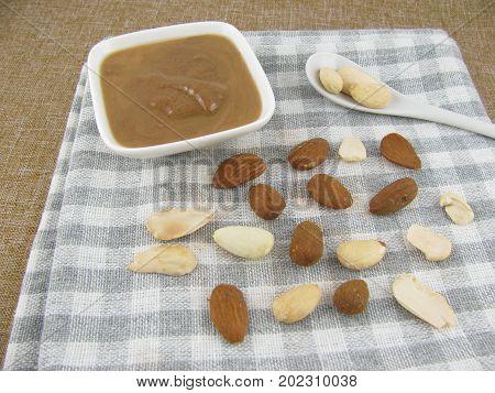 Dark almond mus in a little bowl