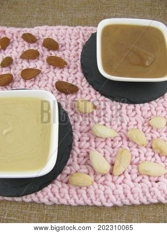 Two varieties of almond mus in a little bowl