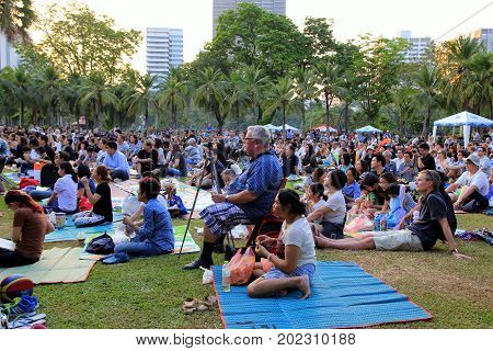 Bangkok Thailand - February 05th 2017: People are listening the concert of Royal Bangkok Symphony Orchestra in Lumpini Park.