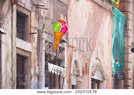 ROME ITALY - OCTOBER 20 2016: Ice cream cone shield in the city center of rome