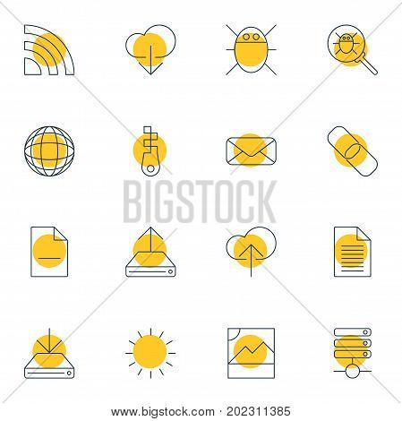 Editable Pack Of Letter, Server, Sheet And Other Elements.  Vector Illustration Of 16 Web Icons.