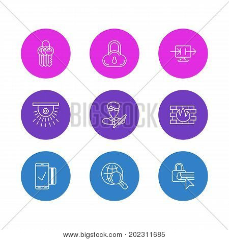 Editable Pack Of Safe Storage, Key Collection, Copyright And Other Elements.  Vector Illustration Of 9 Privacy Icons.