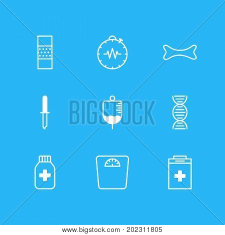 Editable Pack Of Pressure Gauge, Weighing, Antibody And Other Elements.  Vector Illustration Of 9 Medicine Icons.