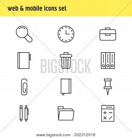 Editable Pack Of Copybook, Zoom, Pencil And Other Elements.  Vector Illustration Of 12 Instruments Icons.