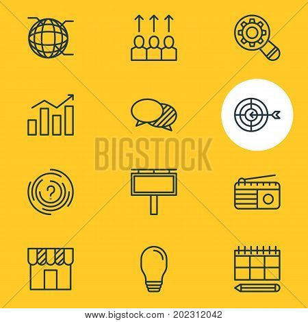 Editable Pack Of Discussing, Fm Broadcasting, Shop And Other Elements.  Vector Illustration Of 12 Advertising Icons.