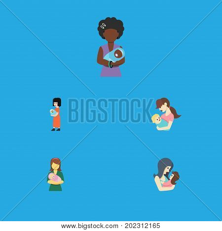 Flat Icon Parent Set Of Mam, Newborn Baby, Baby And Other Vector Objects