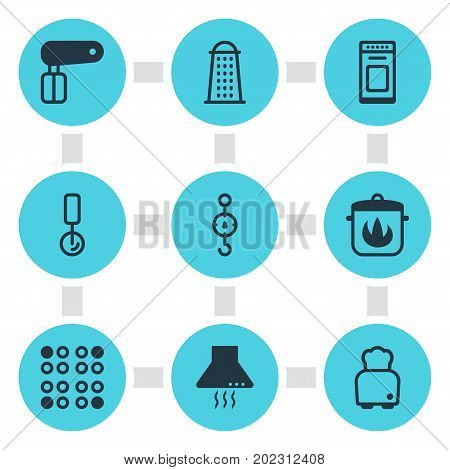 Editable Pack Of Steelyard, Stewpot, Bread And Other Elements.  Vector Illustration Of 9 Kitchenware Icons.
