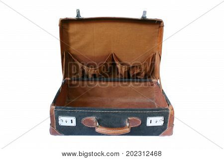 Retro styled suitcase at the white background