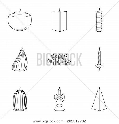 Candle forms icons set. Outline set of 9 candle forms vector icons for web isolated on white background