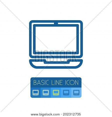 Device Vector Element Can Be Used For Laptop, Notebook, Computer Design Concept.  Isolated Computerized Outline.