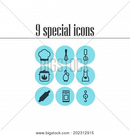 Editable Pack Of Bakery Roller, Round Slicer, Stewpot And Other Elements.  Vector Illustration Of 9 Kitchenware Icons.