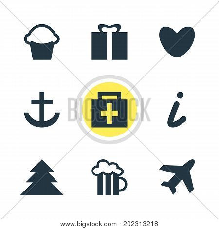 Editable Pack Of Map Information, Jungle, Drugstore And Other Elements.  Vector Illustration Of 9 Travel Icons.