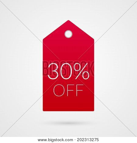 30 percent off shopping tag vector icon. Red and white isolated discount symbol. Illustration sign for sale advertisement marketing project business retail wholesale shop commerce finance