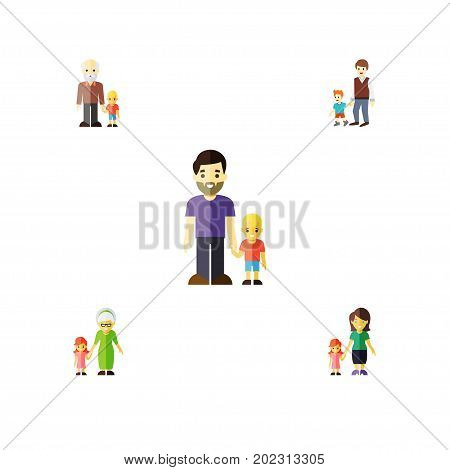 Flat Icon Family Set Of Son, Grandchild, Daugther Vector Objects