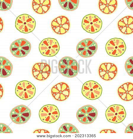 Seamless Vector Hand Drawn Childish Pattern, Border, With Fruits. Cute Childlike Lime, Lemon, Orange