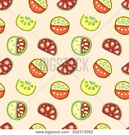Seamless Vector Hand Drawn Childish Pattern, Border, With Fruits. Cute Childlike Watermelon With Lea