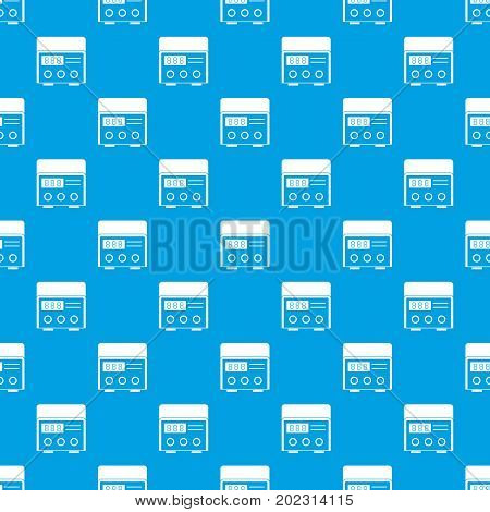 Professional tattoo machine pattern repeat seamless in blue color for any design. Vector geometric illustration