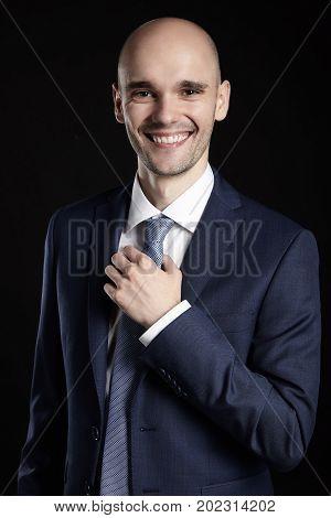 Cheerful Man On Black Background