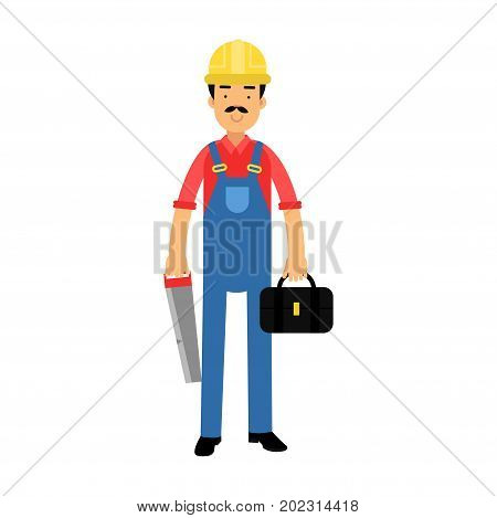 Male construction worker character standing with toolbox and saw cartoon vector Illustration on a white background