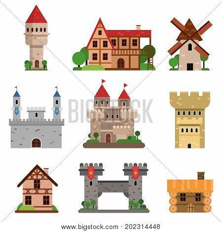 Medieval historical buildings of different countries set of cartoon vector Illustrations on a white background