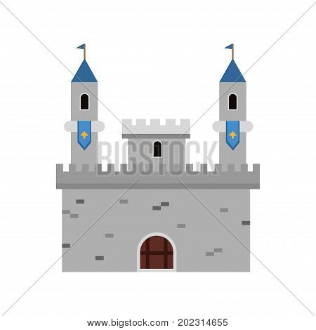Ancient fortification castle, medieval architecture building vector Illustration on a white background