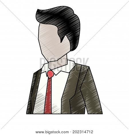 businessman faceless in suit and half body to pencils colored silhouette vector illustration