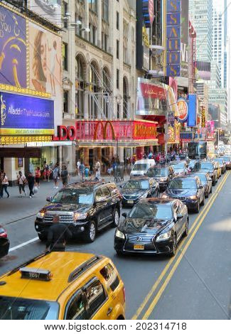 New York City USA June 20 2017 - streets congested with traffic in New york City - editorial use only