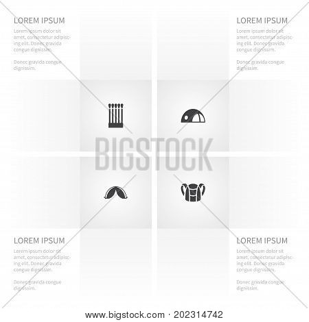 Icon Campsite Set Of Fire, Luggage, Stall And Other Vector Objects