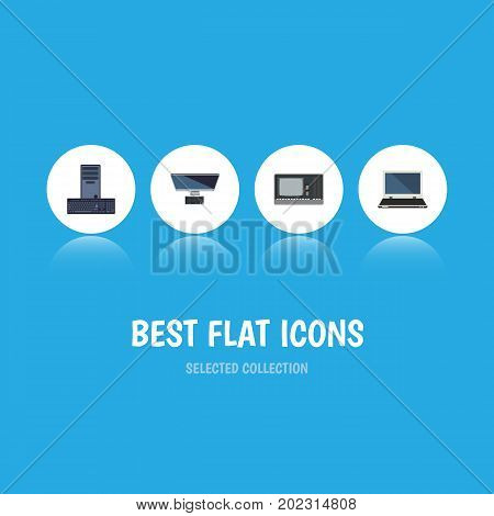 Flat Icon Computer Set Of Vintage Hardware, Processor, PC And Other Vector Objects