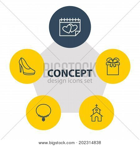 Editable Pack Of Jewelry, Building, Present And Other Elements.  Vector Illustration Of 5 Engagement Icons.