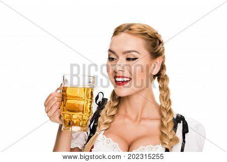 Waitress With Beer On Oktoberfest