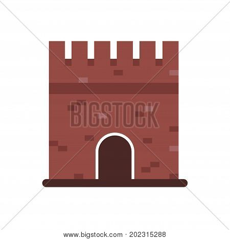 Stone medieval historical building, medieval architecture building vector Illustration on a white background