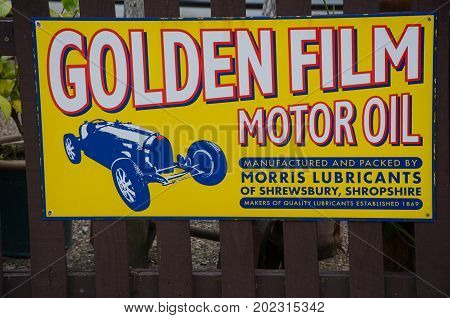 Norfolk United Kingdom August 21 2017: Vintage Goldenfilm motor oil advert