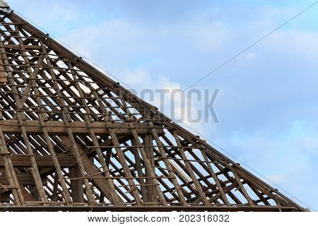 Close up of farm roof without tiles in Groningen, The Neherlands, Europe