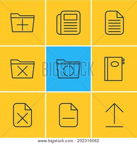 Editable Pack Of Blank, Add, Journal And Other Elements.  Vector Illustration Of 9 Office Icons.