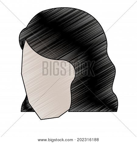 woman head faceless with short hairstyle to pencils colored silhouette vector illustration