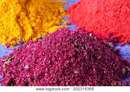 Colorful Heap Of Spices. Aromatic Landscape With Seasoning. Paprika, Turmeric, Imbir, Nutmeg